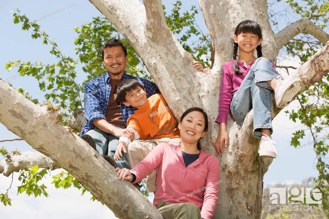 Stock Photo: Family climbing tree together.