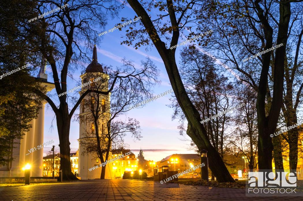 Stock Photo: Vilnius Cathedral Belfry illuminated at night. Cathedral Square, Vilnius, Lithuania, Europe. Originally part of the city's 13th century defensive wall.