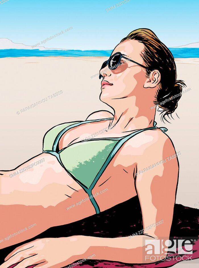 Stock Photo: Young woman sunbathing.