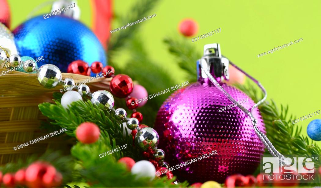 Stock Photo: Christmas Decoration: Christmas ball and ornaments with the branch of Christmas tree.