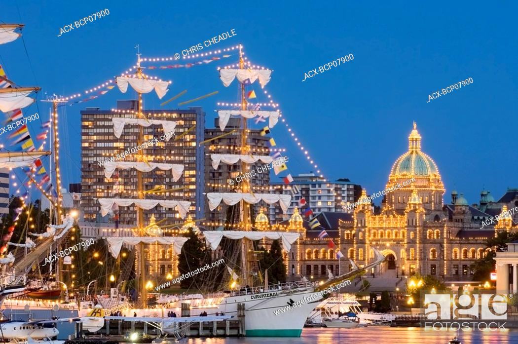 Stock Photo: Tall ships festival, Victoria Inner Harbour, Vancouver Island, British Columbia, Canada.