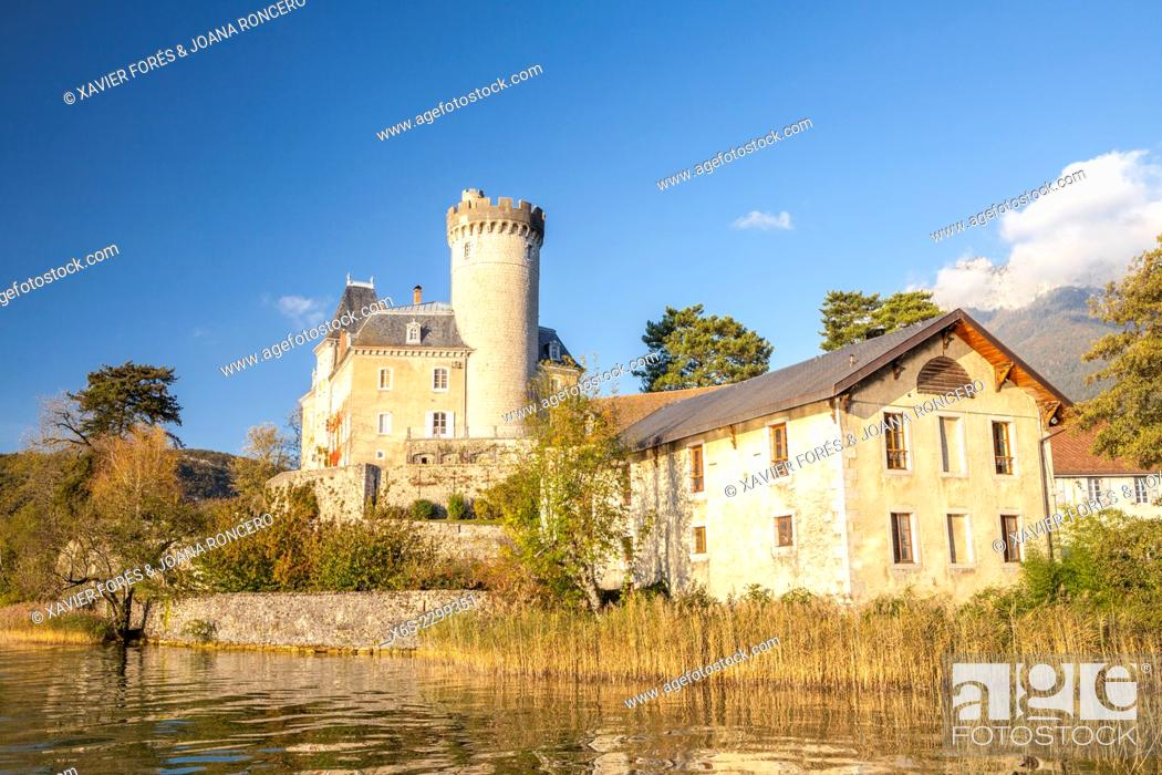 Stock Photo: Château Ruphy in Dungt village in Annecy lake, Haute-Savoie, Rhône-Alpes, France.