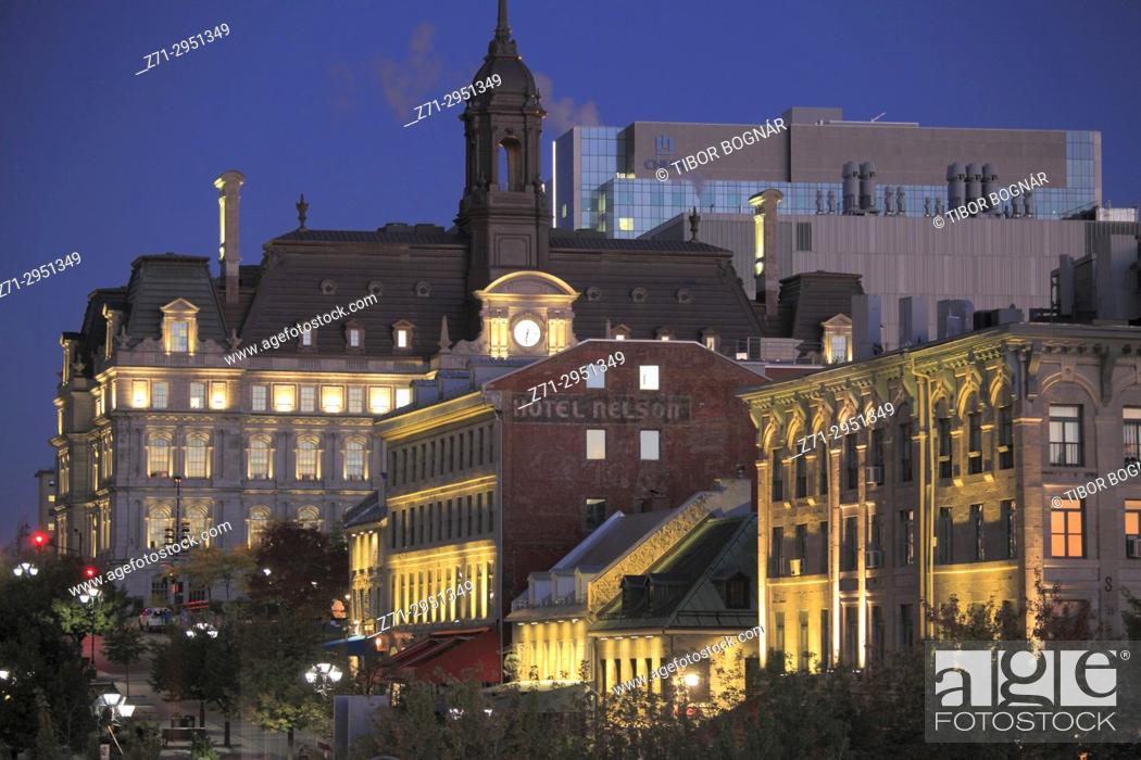 Stock Photo: Canada, Quebec, Montreal, City Hall, Place Jacques Cartier,.