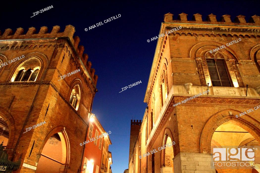 Stock Photo: The medieval town hall palace in Cremona Lombardy Italy.