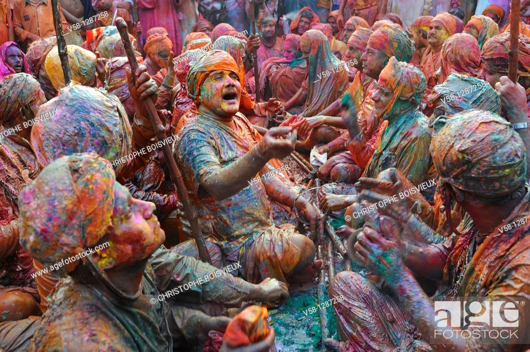 Stock Photo: India, Uttar Pradesh, Holi festival, Colour and spring festival celebrating the love between Krishna and Radha.