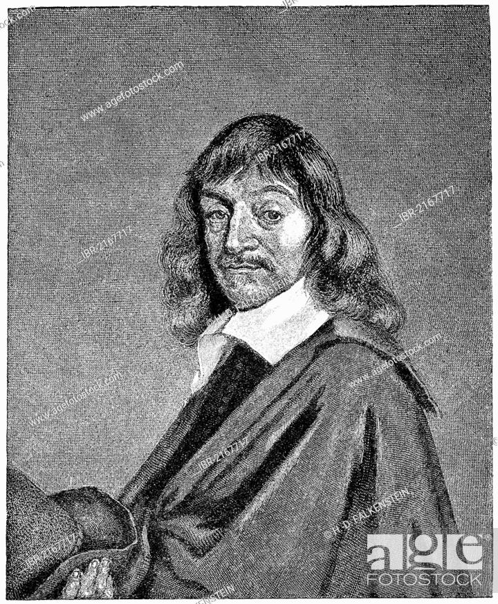 Stock Photo: Historical illustration from the 19th Century, René Descartes or Renatus Cartesius, 1596 - 1650, a French philosopher, mathematician and scientist.