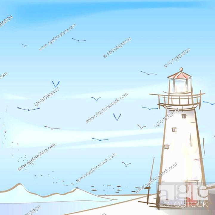 Stock Photo: seashore, season, sea, snow, winter, seagull, background.