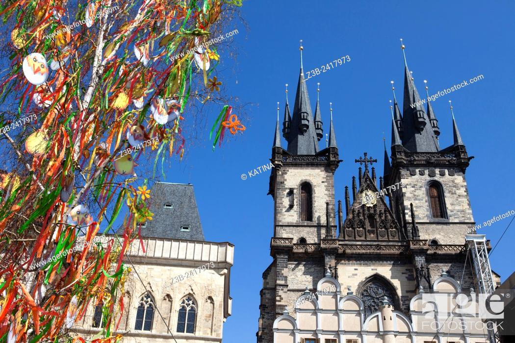 Stock Photo: Prague, Czech Republic, historical center listed as World Heritage by UNESCO, the old town Stare Mesto, Easter decorations in Old town Square Staromestske.