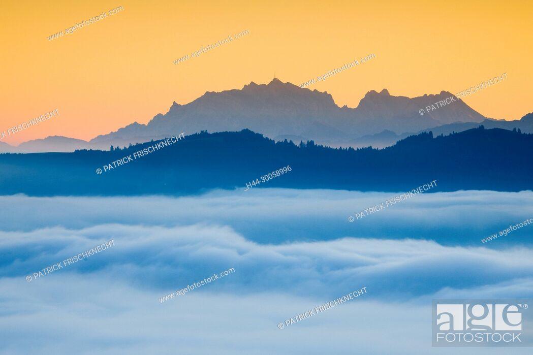 Stock Photo: View of Säntis of the Ratenpass, Zug Switzerland.