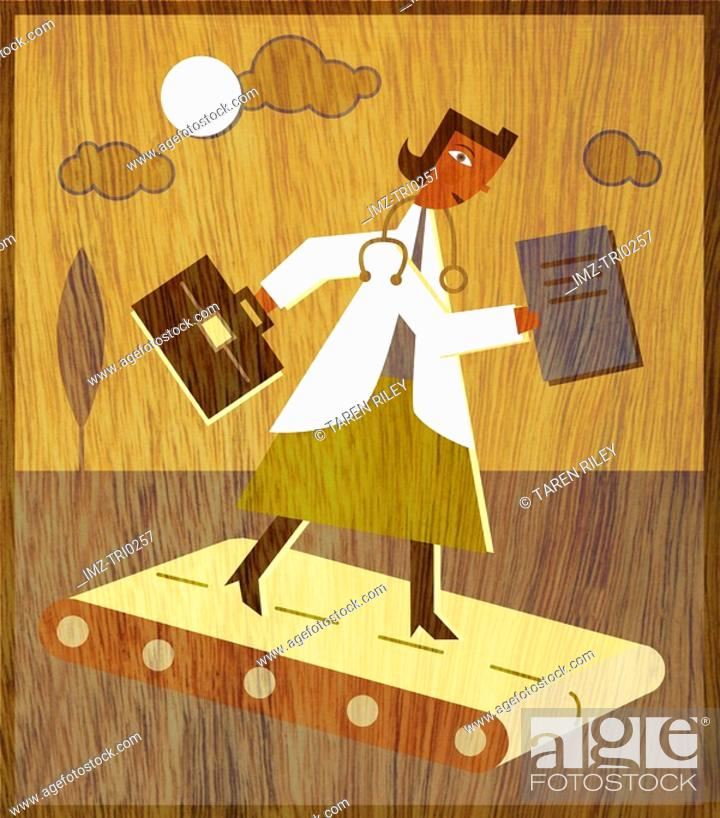 Stock Photo: A doctor with a briefcase and files walking on a treadmill.