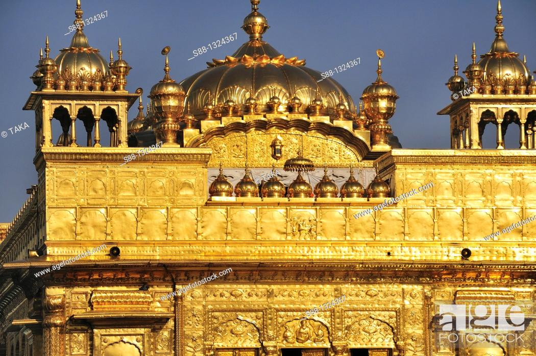 Stock Photo: Golden Temple the holiest Sikh Temple in Amritsar.