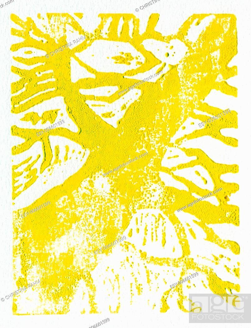 Stock Photo: Tree print, original made in linoleum print technique, in yellow.
