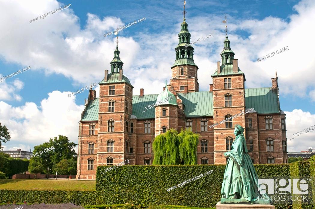 Stock Photo: Rosenborg Castle, Copenhagen, is the repository of the Danish crown jewels and stands within the King's Garden.