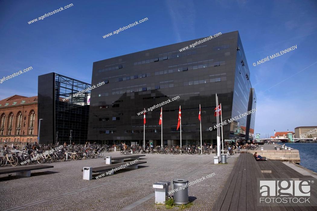 Stock Photo: The Black Diamond in Copenhagen, Denmark.