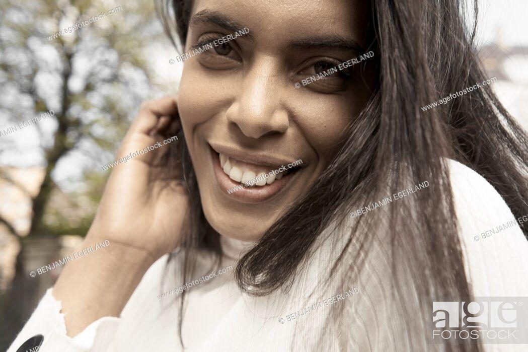Photo de stock: Close up portrait of a Brazilian woman, Munich, Germany.