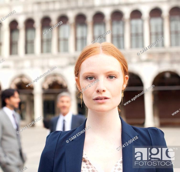 Stock Photo: Close up portrait of confident businesswoman.