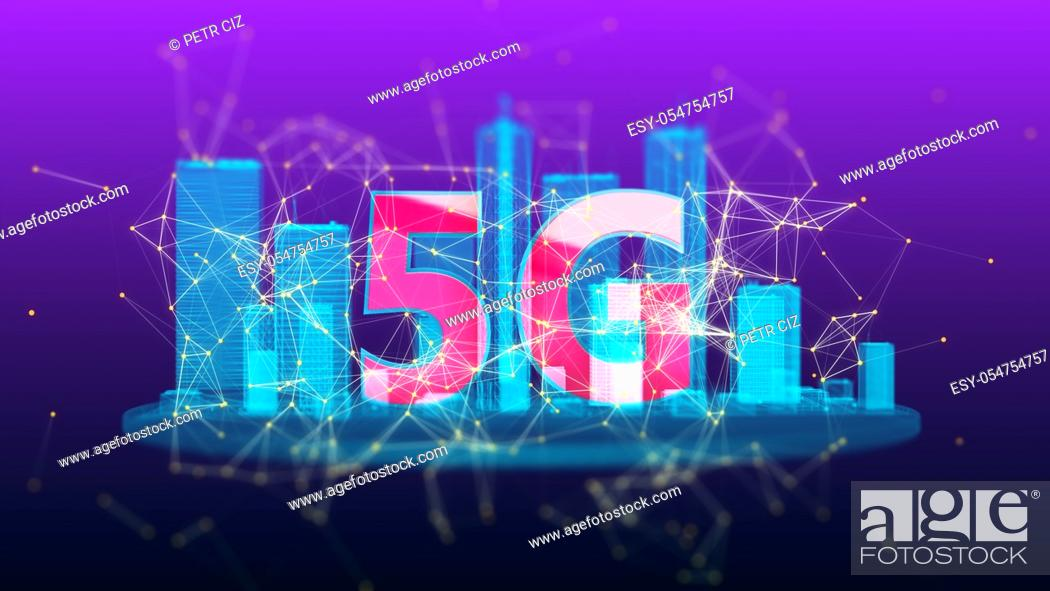 Stock Photo: 5G generation fast wireless network technology. Broadband access 3D 4K UHD video loop.