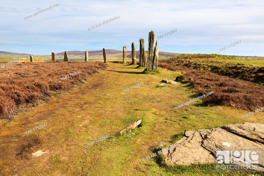 Stock Photo: Stenness, Orkney Mainland, Scotland, UK, Great Britain, Europe  Ring of Brodgar Neolithic henge and stone circle of standing stones is largest in Orkneys and is.