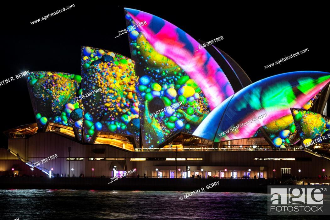 Stock Photo: Sydney, Australia, Tuesday 30th May 2017. Vivid Sydney light show at Circular Quay.