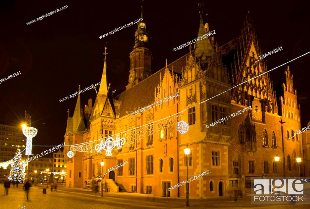 Stock Photo: Town Hall and marketplace in Wroclaw, Poland  Late Gothic with elements of Renaissance  South and ast elevation.
