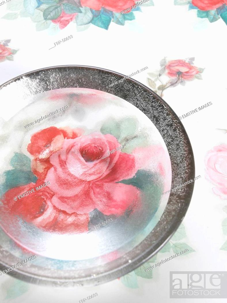 Stock Photo: Plate with a flowery pattern.