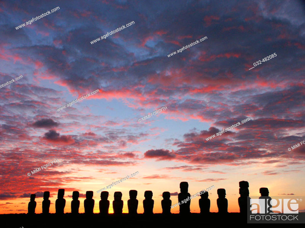 Stock Photo: dawn at Ahu Tongariki, Rapa Nui (Easter Island, Isla de Pascua).