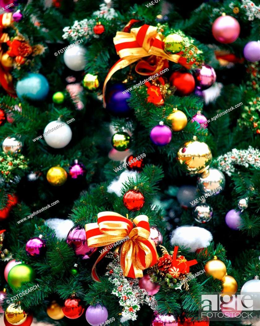 Stock Photo: object, christmas, decoration, ribbon, tree, film.