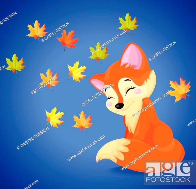 Stock Vector: Cute fox cartoon character. Vector autumn seasonal cards.