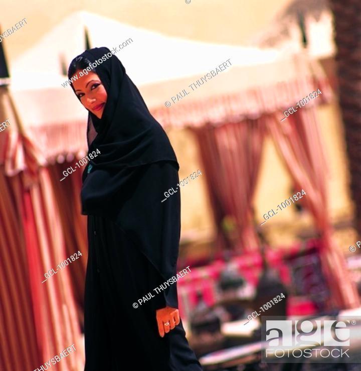Stock Photo: Smiling Arab woman.
