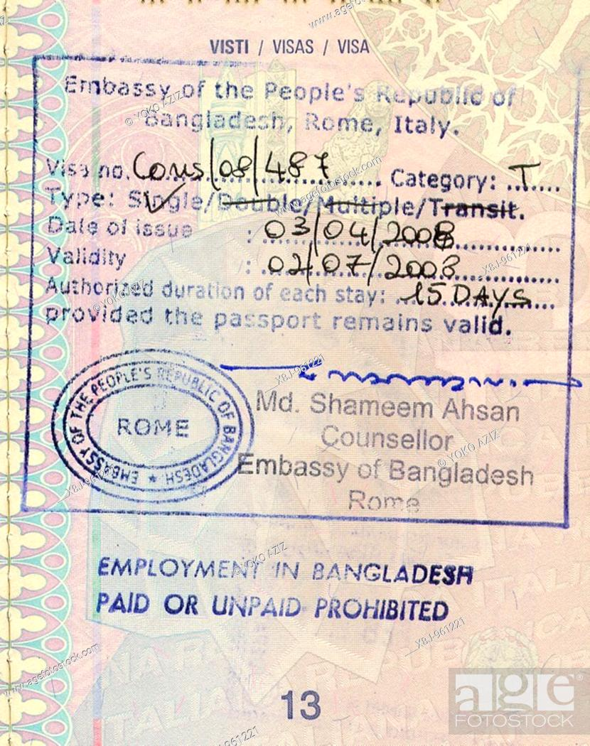 Stock Photo: Visa, Bangladesh.