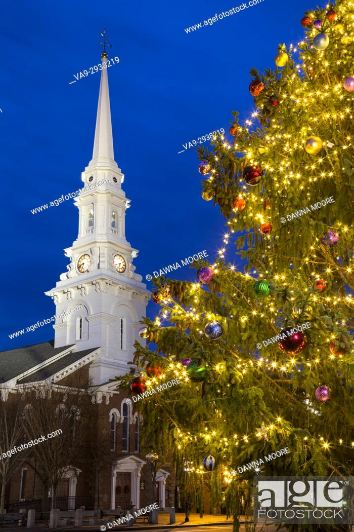 Stock Photo: North Church at Christmas, Portsmouth, New Hampshire.