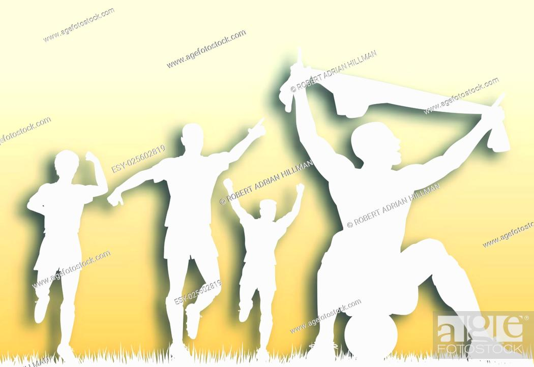 Vector: Editable vector cutout of a soccer player celebrating a goal plus team-mates with background made using a gradient mesh.