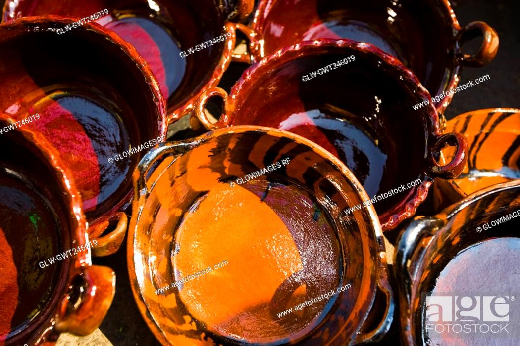 Stock Photo: Close-up of saucepans at a market stall, Xochimilco, Mexico.