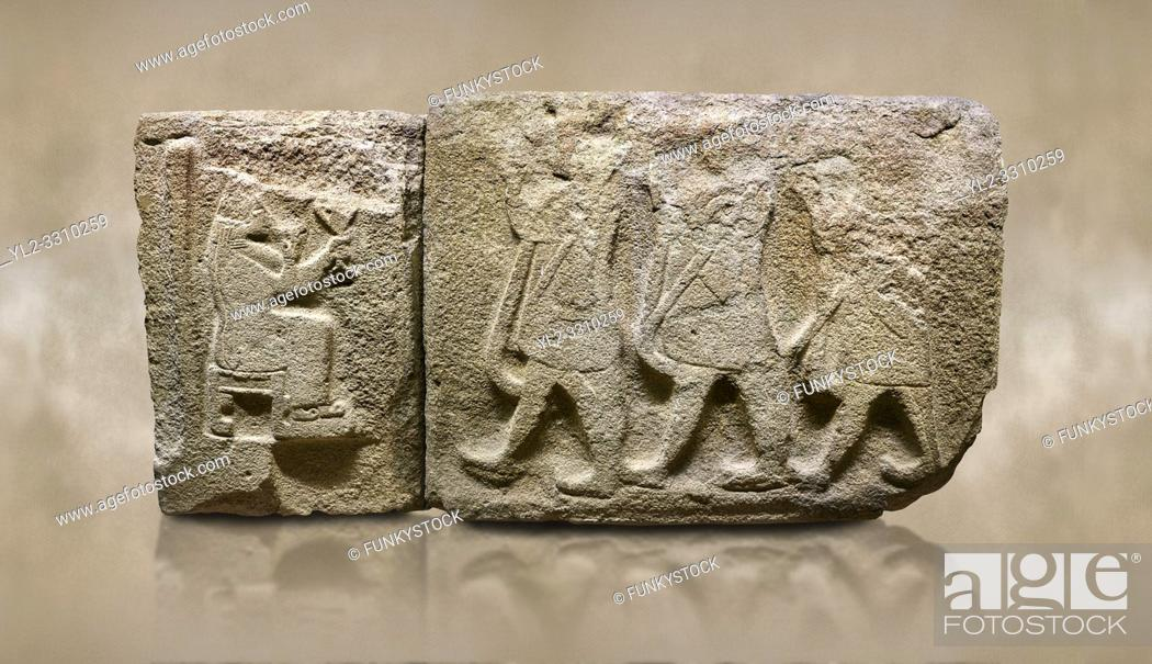 Stock Photo: Alaca Hoyuk Sphinx Gate Hittite monumental relief sculpted orthostat stone panel. Andesite. Alaca, Corum, 1399 - 1301 B. C.
