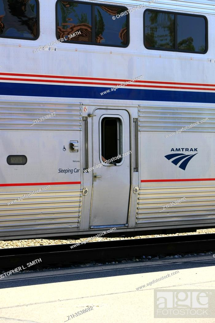 Stock Photo: Amtrak train service at Tucson station AZ on its way to El Paso, San Antonio or Houston and on to New Orleans.