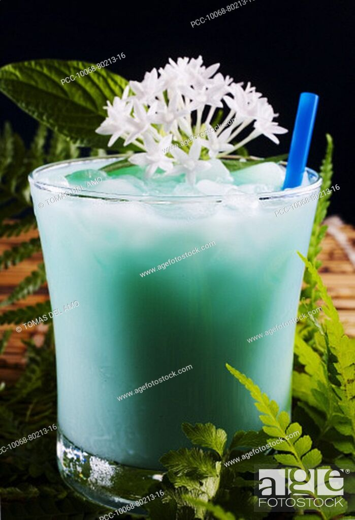 Stock Photo: A tropical drink garnished with flowers.