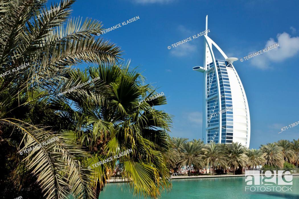 Stock Photo: The Madinat Jumeirah and the Burj al Arab Hotel in Dubai, UAE.