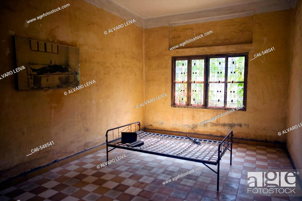 Stock Photo: Cell where Khmer Rouge interrogated and murdered prisoners. Toul Sleng Genocide Museum. Phnom Penh. Cambodia.