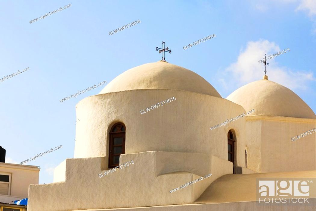 Stock Photo: Low angle view of a church, Skala, Patmos, Dodecanese Islands, Greece.
