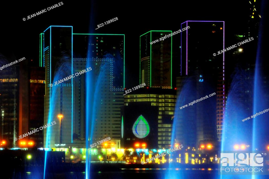 Stock Photo: Modern towers, Doha, capital of the Emirate of Qatar, Arabian Peninsula, Persian Gulf, Middle East.