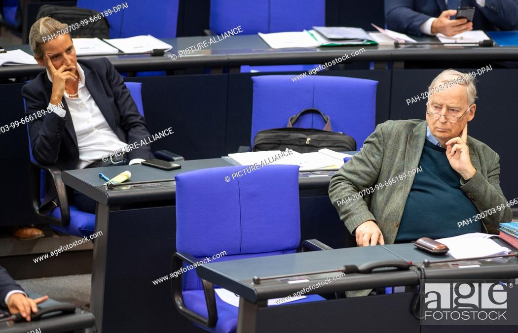 Stock Photo: 03 July 2020, Berlin: The leaders of the AfD parliamentary group, Alice Weidel and Alexander Gauland, are sitting in the plenary session of the German Bundestag.