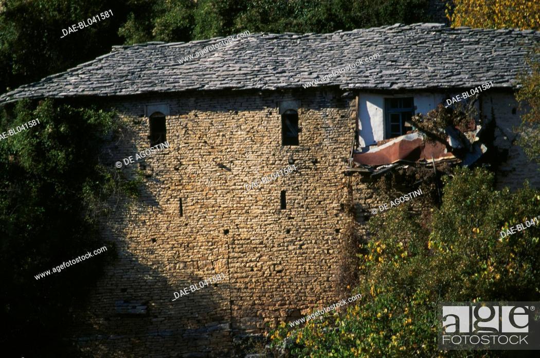 Stock Photo: Stone building in Monodendri, Zagoria, Epirus, Greece.