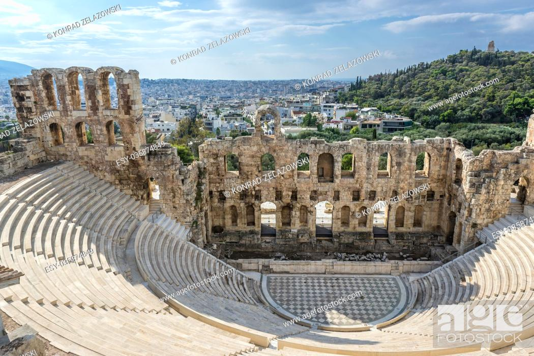 Stock Photo: Odeon of Herodes Atticus, part of ancient Acropolis of Athens city, Greece. Musaios Hill on background.