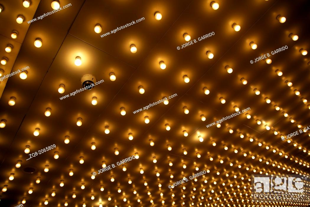 Stock Photo Old Style Theater Marquee Lights Walkway To The Aligned Of Chicago Theatre