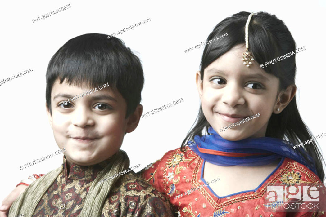 Stock Photo: Portrait of a girl and her brother.