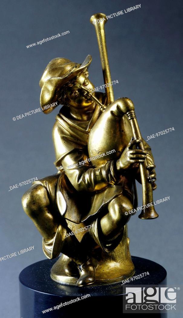 Stock Photo: The piper, by Giambologna (1529-1608), gilded bronze.  Florence, Museo Nazionale Del Bargello (Bargello National Museum).