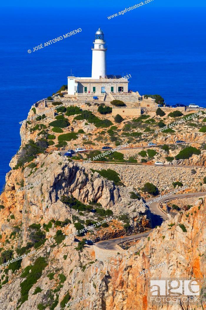 Stock Photo: Mallorca, Lighthouse, Cabo de Formentor, Formentor Cape, Serra de Tramuntana, UNESCO World Heritage Site, Mallorca Island, Majorca, Balearic Islands, Spain.
