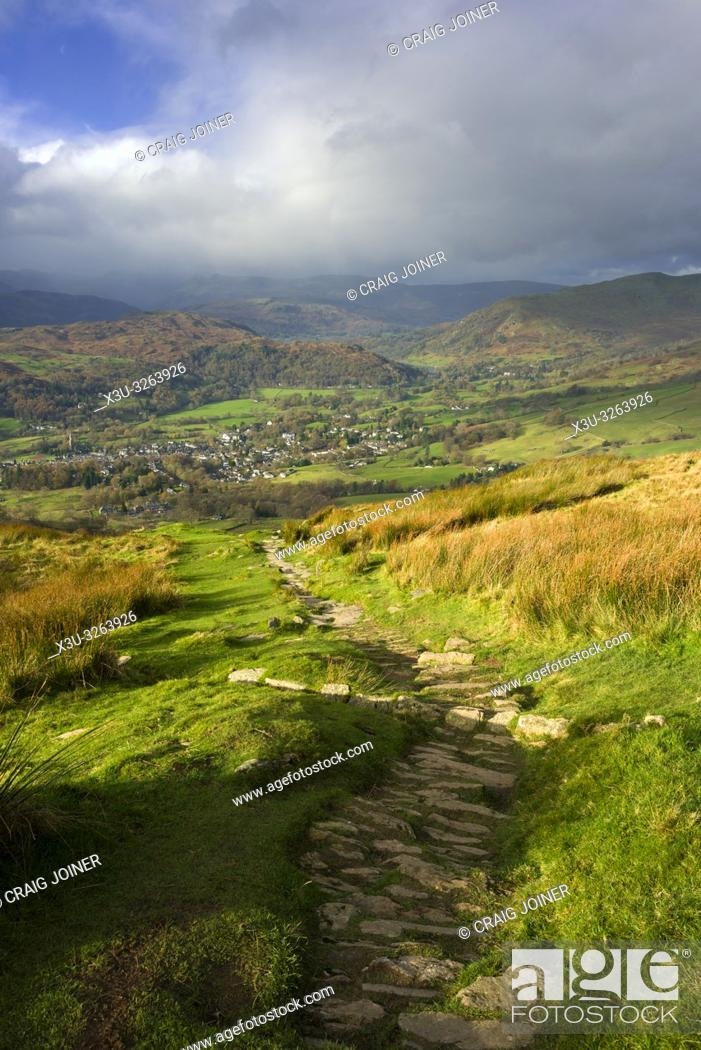 Stock Photo: The view from Wansfell over the town of Ambleside in the Lake District National Park, Cumbria, England.