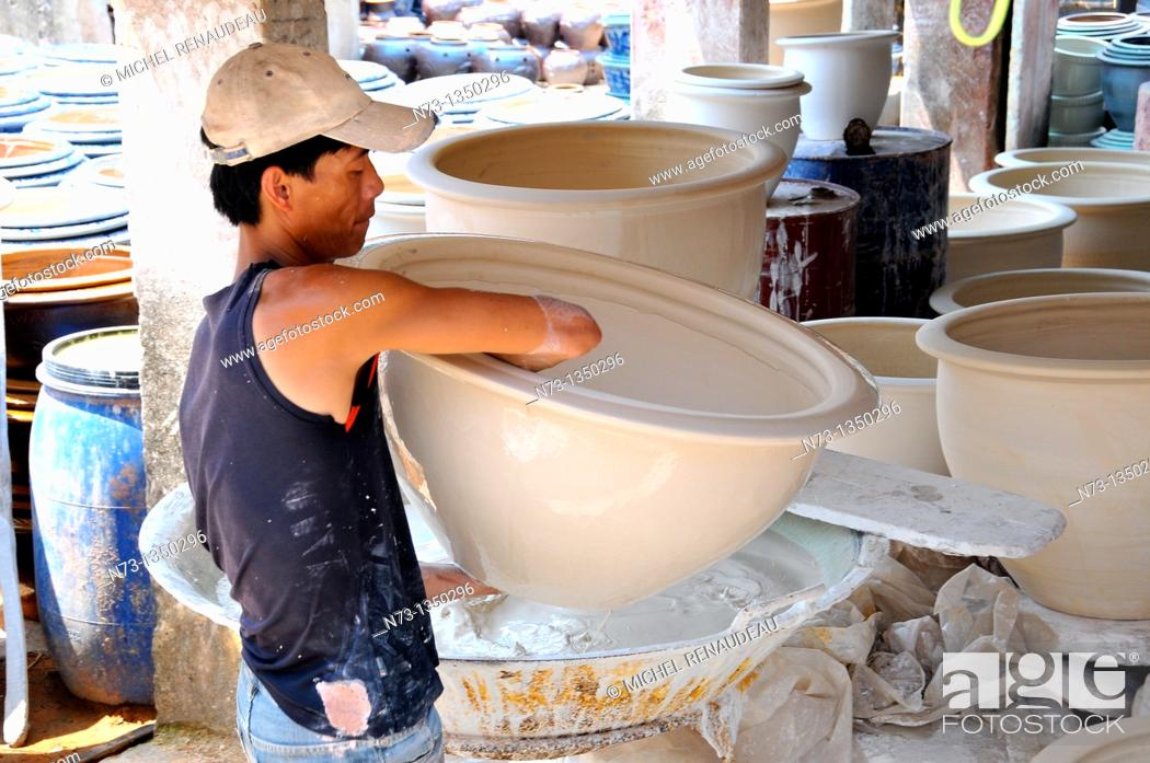 Stock Photo: Vietnam, Hanoi region, ceramics workshop.