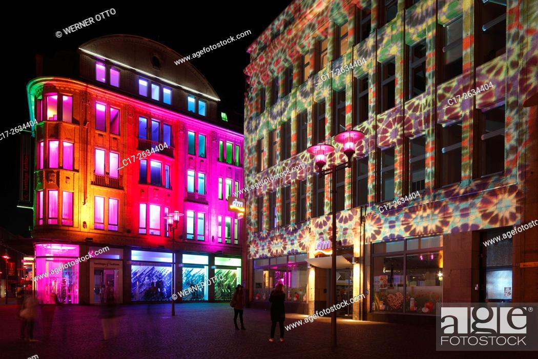 """Stock Photo: D-Recklinghausen, Ruhr area, Westphalia, North Rhine-Westphalia, NRW, """"""""Recklinghausen leuchtet"""""""", festival illumination in the historic downtown."""